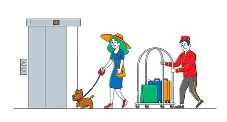 Clerk Character in Uniform Meeting Woman with Dog in Hotel Lobby Helping to Carry Baggage. Hospitality Service, Tourist Arrive in Room. Visitor, Guest Accommodation. Linear People Vector Illustration Illustration