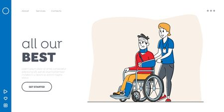 Disability Landing Page Template. Disabled Male Character with Broken Hand and Leg Riding Wheelchair with Nurse Assistance. Man Patient in Traumatology Hospital. Linear People Vector Illustration