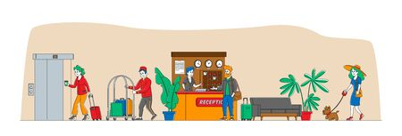 Hospitality, Characters Arrive and Leave Hotel. Businessman at Reception Take Keys from Room at Clerk Desk. Lobby Staff Meeting Guests. Bellboy Carry Woman Luggage. Linear People Vector Illustration 写真素材 - 149883900