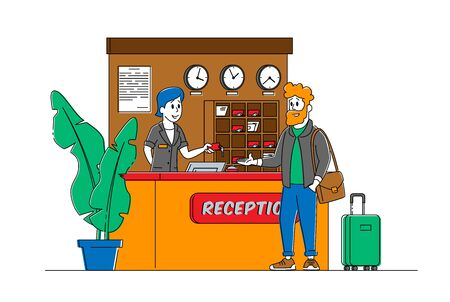 Tourism, Business Trip Inn Service. Receptionist Character Stand at Lobby Desk Give Room Key to Businessman Guest in Hotel Reception. Woman Manager Work in Motel. Linear People Vector Illustration