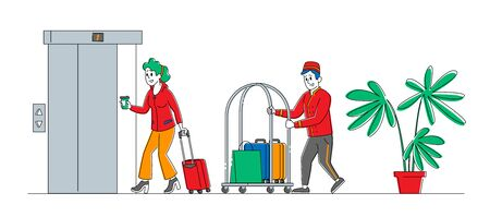 Hotel Staff Meeting Guest in Hall Carrying Luggage by Cart. Woman Character Checkin, Stay in Guesthouse for Vacation or Business Trip. Hospitality, Room Reservation. Linear People Vector Illustration