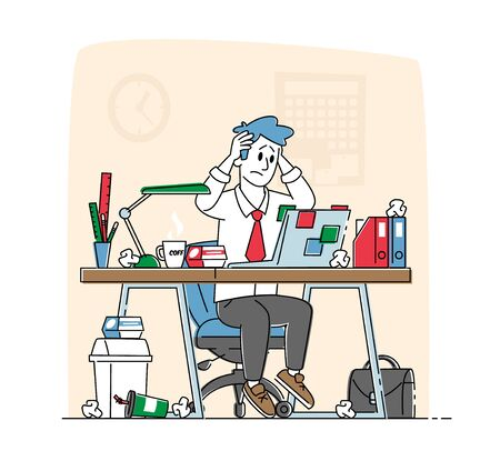 Business Man Stress and Frustration Concept. Tired Stressed Worker Sit at Office Desk with Laptop Holding Head with Hands Tearing Hair Tired of Work and Exhausted. Linear Character Vector Illustration