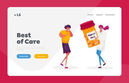 Pulmonology Healthcare and Treatment Landing Page Template. Woman with Diseased Lungs Cough, Doctor Character Give Medicine to Patient with Tuberculosis Problems. Cartoon People Vector Illustration