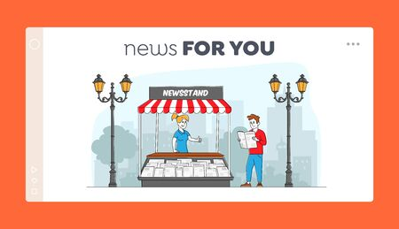 Press Media Business Landing Page Template. Characters Read and Sell Newspapers. Man Stand at Kiosk Read News while Walking on City Street. Person Buying Magazine. Linear People Vector Illustration
