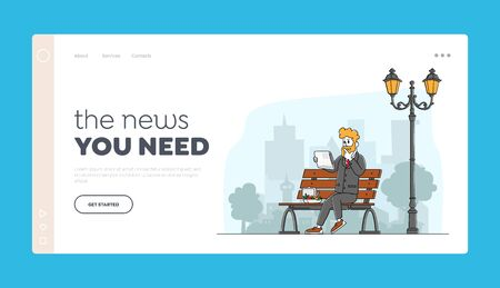 Press Social Media Information Landing Page Template. Businessman Reading Newspaper Sitting on City Street with Lunch Box. Male Character Read Publication on Coffee Break. Linear Vector Illustration