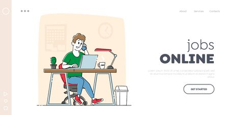 Freelancer or Businessman Working, Searching Solution Landing Page Template. Male Character Work on Laptop and Speaking by Smartphone in Office. Man at Desk Work on Project. Linear Vector Illustration Ilustração