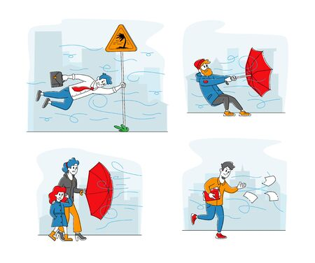 Set Characters Fighting with Strong Wind, Man with Destroyed Umbrella Trying to Protect from Storm and Rain. Business Man Hanging on Road Sign, Daughter and Mother. Linear People Vector Illustration
