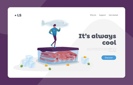 Frozen Food, Saving and Freezing Products Landing Page Template. Cheerful Male Character in Warm Clothes Hold Huge Frozen Fish Stand on Container with Steaks and Ice Cubes. Cartoon Vector Illustration 向量圖像