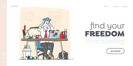Business Man Stress and Frustration Landing Page Template. Tired Stressed Worker Sit at Office Desk with Laptop Hold Head Tearing Hair Tired of Work and Exhausted. Linear Character Vector Illustration Ilustrace