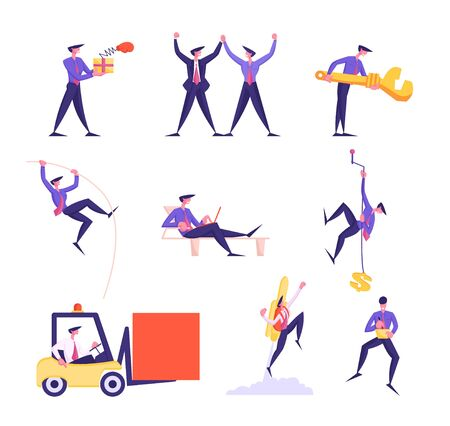 Set of Business People Holding Hands, Box with Pop Up Boxing Glove, Huge Wrench and Forklift. Male Characters Pole Jumping, Climbing Rope, Fly Rocket and Work on Laptop. Cartoon Vector Illustration