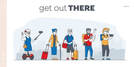 Elderly Characters Travel Group Landing Page Template. Mature Tourists Stand on City Street in Foreign Country. Old People Traveling with Map, Photo Camera, Luggage, Selfie. Linear Vector Illustration