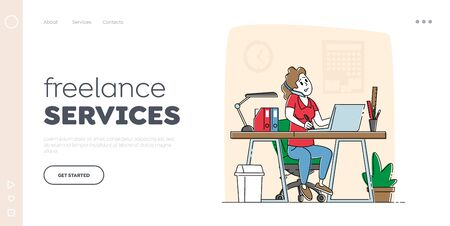 Freelance Employee Landing Page Template. Office Worker Busy Business Woman or Freelancer Character Working on Laptop Sitting at Table Workplace Talking by Mobile Phone. Linear Vector Illustration