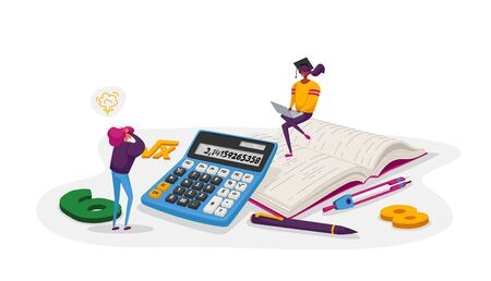 Education, Knowledge and Mathematics Science Concept. Tiny Female Character with Learning Stationery College or University Students in Bachelor Cap with Calculator. Cartoon People Vector Illustration