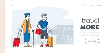 Aged Couple Voyage Landing Page Template. Senior Tourist Characters with Luggage Boarding on Airplane for Trip, Elderly Traveling People Going to Foreign Country. Linear People Vector Illustration