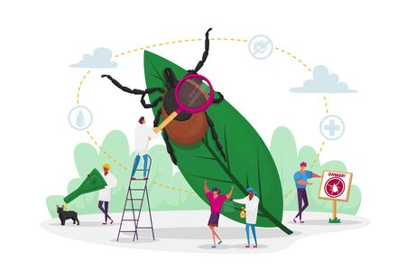 Tiny Characters Search Dangerous Insect. Mite Hid on Plant Leaf, People Spraying Insect Repellent on Skin and Dog Outdoor. Encephalitis Mite, Tick Bite Protection Concept. Cartoon Vector Illustration Vectores