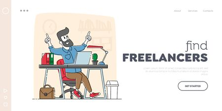 Freelance Employee, Office Employee Working Activity Landing Page Template. Relaxed Business Man or Freelancer Character Working on Laptop Sitting at Desk Thinking of Task. Linear Vector Illustration