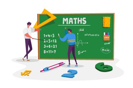 Teacher Male Character Explain Mathematics or Physics Formula Written with Chalk on Blackboard to Young Man Student. Higher Education in University or College. Cartoon People Vector Illustration