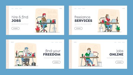 Freelance Self-employed Occupation Landing Page Template Set. Freelancers or Office Workers Characters Work on Laptop Sitting at Desk. Remote or Stationary Workplace. Linear People Vector Illustration