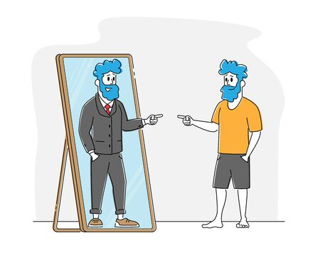 Male Character Looking in Big Mirror See himself as Successful Businessman Wearing Expensive Suit. Office Employee or Poor Man Dream to Become Wealthy Businessman Concept. Linear Vector Illustration