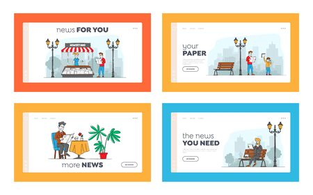 People Reading or Selling Newspapers Landing Page Template Set. Businessman Read Magazine Sitting on Bench. Male Characters Buy Press at Kiosk, Read News at Home and Street. Linear Vector Illustration Çizim