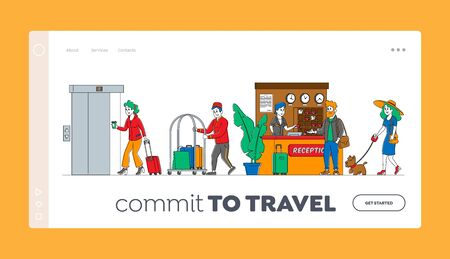 Hospitality, Characters Arrive and Leave Hotel Landing Page Template. People at Reception Take Keys from Room at Clerk Desk. Lobby Staff Meet Guests. Bellboy Carry Luggage. Linear Vector Illustration 写真素材 - 150321025