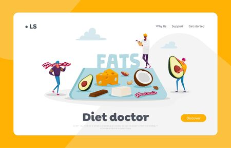 Keto Diet Landing Page Template. Characters Carry Products with Low Carb and High Fat Level, Ketogenic Fasting and Healing State. Doctor Writing Notes for Dieting. Cartoon People Vector Illustration  イラスト・ベクター素材