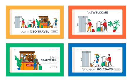 Hospitality Landing Page Template Set. Characters Arrive, Leave Hotel People at Reception Take Keys from Room at Clerk Desk. Lobby Staff Meet Guests, Bellboy Carry Luggage. Linear Vector Illustration 写真素材 - 150321032