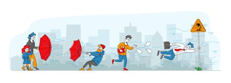 Characters Fighting with Strong Wind, Person Hanging on Road Sign, Man with Destroyed Umbrella Trying to Protect from Storm and Rain. Businessman with Scattered Docs. Linear People Vector Illustration Vectores