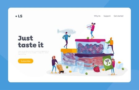 Frozen Food, Healthy Eating Landing Page Template. Tiny Male and Female Characters Buying and Cooking Natural Iced Products Fresh Vegetables, Fruits Meat and Fish. Cartoon People Vector Illustration Ilustracja