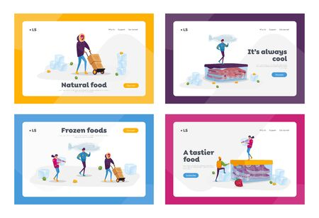 Frozen Food, Healthy Eating Landing Page Template Set. Tiny Male Female Characters Buying and Cooking Natural Iced Products Fresh Vegetables, Fruits Meat and Fish. Cartoon People Vector Illustration Ilustracja