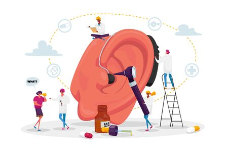 Deafness Concept. Deaf People with Hear Problems Visiting Doctor Audiologist for Ears Treatment. Tiny Characters around of Huge Ear Using Hearing Aid, Medical Appointment. Cartoon Vector Illustration
