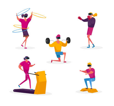 Set of Characters in Vr Glasses Sporty Training in Virtual Reality Cyberspace. Young People in Sports Clothing and Goggles Headset Doing Fitness Exercising, Sport Workout. Cartoon Vector Illustration Illustration