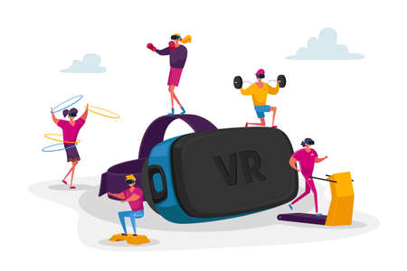 People Use Virtual Reality Technology for Sports Workout. Male and Female Tiny Characters Wearing Vr Goggles Exercising on Treadmill, Fighting in Augmented Reality. Cartoon People Vector Illustration Illustration