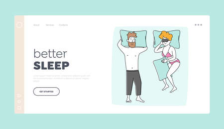 Young Family Couple Male and Female Characters Sleeping Landing Page Template. Naked Man Wearing Pajama Sleep on Back with Hands under Head. Woman Hugging Pillow. Linear People Vector Illustration