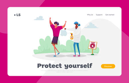 People Protect themselves from Mites Landing Page Template. Doctor Characters Spraying Insecticide on Woman against Ticks and Mosquito for Safety Walking in Forest or Park. Cartoon Vector Illustration Ilustração