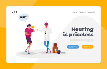 Medical Hear Exam Landing Page Template. Female Character Hard of Hearing. Woman Suffer of Hearing Impairment Visiting Doctor for Treatment or Impair Diagnosis. Cartoon People Vector Illustration