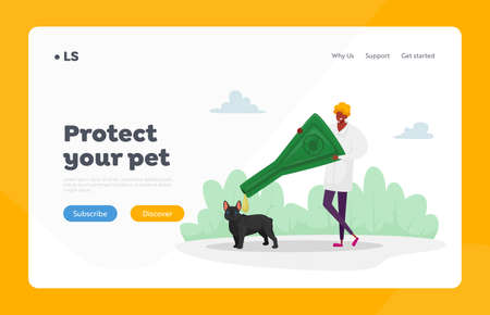 Domestic Animals Parasites Protection Landing Page Template. Character Dripping Drops against Encephalitis Mites on Dogs. Doctor Protect Pet of Ticks and Poisonous Insects. Cartoon Vector Illustration