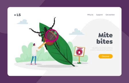 Danger of Bite with Tick in Forest or Park Landing Page Template. Doctor Character with Magnifying Glass Stand at Huge Leaf with Tick and Warning Sign with Mite Image. Cartoon Vector Illustration Ilustração