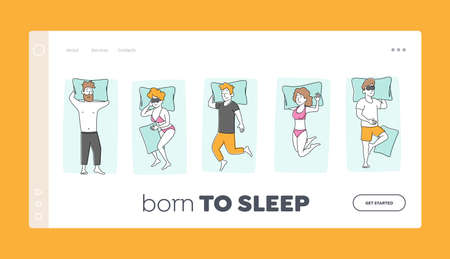 Young Character Sleeping on Comfy Bed Top View Landing Page Template. People Sleeping Poses. Naked Men Women Hug Blanket, Wear Pajama Sleep on Back with Hands under Head. Linear Vector Illustration