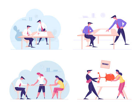 Set of Business People Discuss and Develop Project in Office, Male and Female Characters Fighting for Vacant Work Place. Teamwork, Brainstorm, Working Competition Concept. Cartoon Vector Illustration