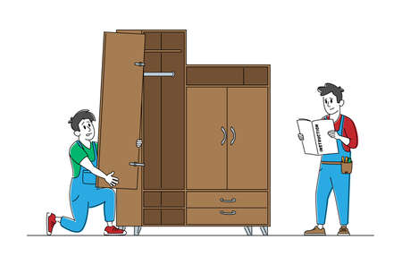 Furniture Maker Profession and Service, Handymen Read Instruction for Assembly Furniture, Worker Characters with Tools Assembling Cabinet, Construction Works Concept. Linear People Vector Illustration 일러스트