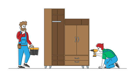 Furniture Assembly Service. Carpenter Worker Characters with Tools Assembling Home Wardrobe with Electric Drill and Construction Instruments in Belt Bag and Toolbox. Linear People Vector Illustration