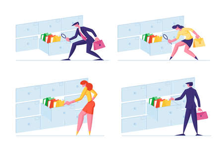 Set of Office Clerk Characters Searching for Files Into Filing Cabinet Drawer, Business Administration and Data Storage. Business People Take Documents in Archive Storage. Cartoon Vector Illustration Archivio Fotografico - 150811801