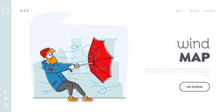 Windy Weather, Strong Blowing Wind Landing Page Template. Man in Warm Clothes Holding Broken Umbrella Protecting from Hurricane. Male Character Fighting with Thunderstorm. Linear Vector Illustration