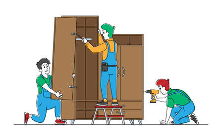 Carpenter Men Characters with Electric Drill and Instruments Assemble Furniture. Carpentry Repairmen with Tools Assembling Home Cupboard, Repair Woodwork Concept. Linear People Vector Illustration