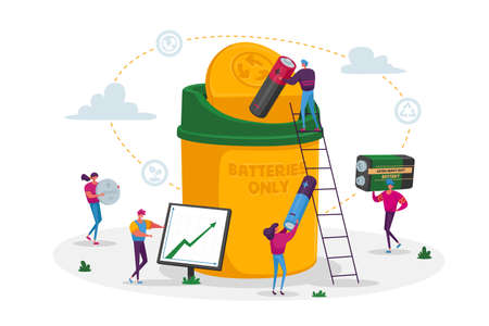 Battery Recycle Concept. Tiny Characters Put Batteries Trash to Huge Container. Garbage Disposal, Clean Environment, Ecology Conservation. Man at Grow Arrow Chart. Cartoon People Vector Illustration