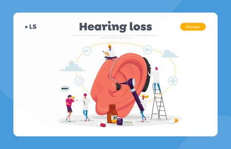 Deafness Landing Page Template. Deaf People with Hear Problems Visiting Doctor Audiologist for Ears Treatment. Tiny Characters around of Huge Ear Using Hearing Aid. Cartoon Vector Illustration Vettoriali