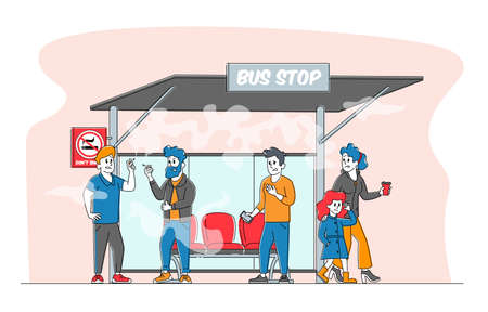 Smoking in Public Place, Bad Habit Concept. Male Characters Smoke Cigarettes near Prohibited Sign on Bus Stop with People around. Angry Woman with Child Admonish Smokers. Linear Vector Illustration 일러스트
