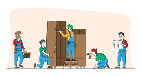 Furniture Assembling Workers Repair and Installation Works. Carpenter and Craftsman Characters Assembly Wardrobe with Shelves Using Drill, Screwdriver and Tools. Linear People Vector Illustration