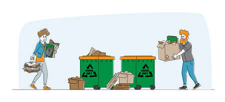 Characters Carry Piles of Paper Documents or Wastepaper to Throw Garbage to Recycle Litter Bin. Environmental Protection, Waste Sort, Recycle and Segregation Concept. Linear People Vector Illustration